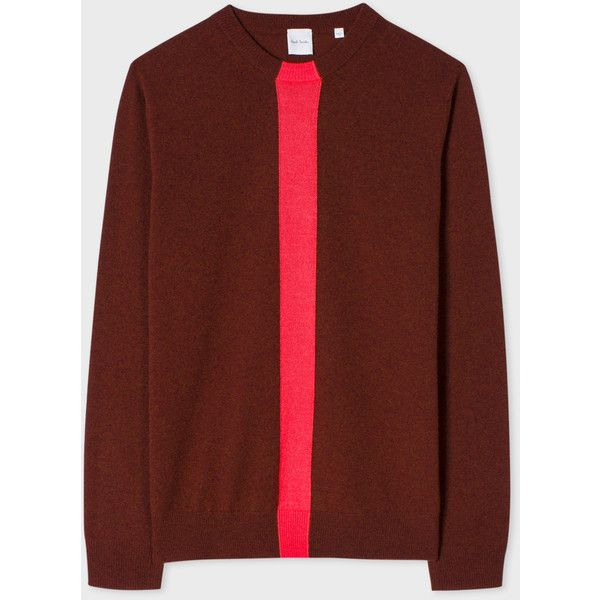 Paul Smith Men's Burgundy Cashmere Sweater With Stripe ($425) ❤ liked on Polyvore featuring men's fashion, men's clothing, men's sweaters, mens shawl collar sweater, mens burgundy sweater, mens striped sweater, mens cashmere sweaters and mens sweaters