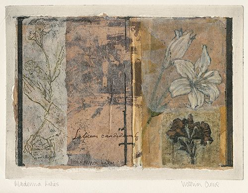 """Victoria Crowe, Madonna Lilies, mixed media, approx. 7"""" x 10"""""""
