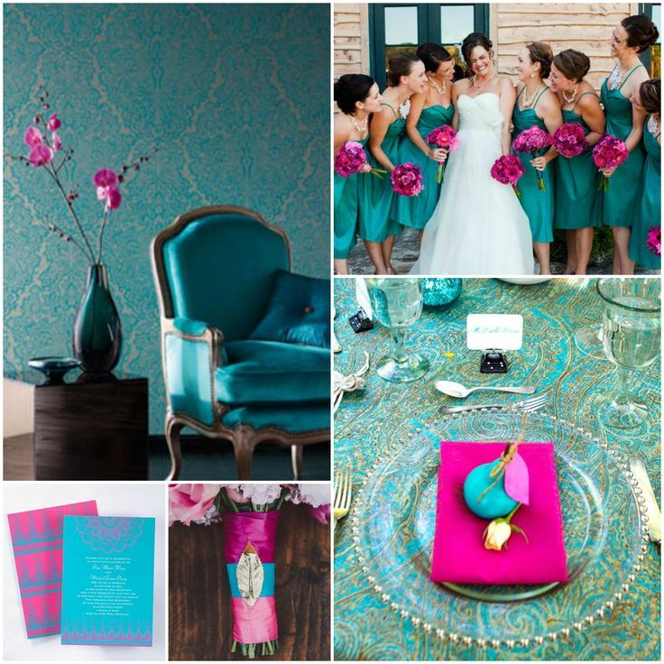 Colour code - Fuchsia + Teal design: Teal Colors, Pink Colors, Bridesmaid Colors, Teal Design, Wedding Colors, Colors Schemes, Colors Ideas, Pink Color Schemes, Colour Schemes