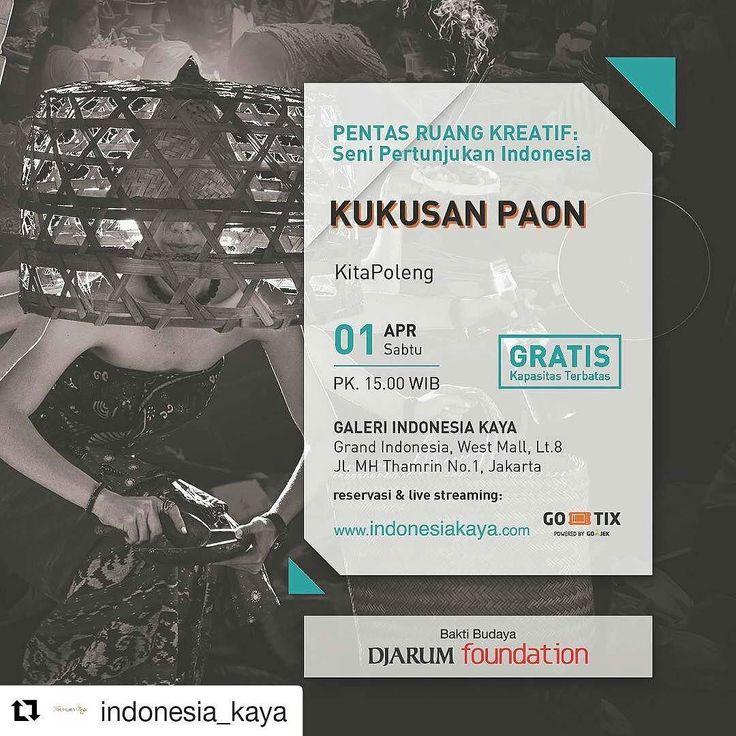 Terinspirasi oleh Ibu Made pemilik Mades Warung yang ada di Kuta Bali sejak tahun 1969 yang mampu membuat warung dengan masakan khas Balinya dan menjadi titik temu para manusia-manusia yang berdatangan ke Bali kekuatan perempuan kembali diteluri pada ruangan kekuasannya Paon (dapur).  Kukusan Paon oleh @karya_kitapoleng dapat disaksikan tanggal 1 April 2017 pukul 15:00.  Pertunjukan ini adalah salah satu pengirim proposal terpilih program RUANG KREATIF: Seni Pertunjukan Indonesia di…