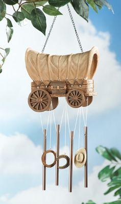 Western Covered Wagon Garden Windchime Dangler