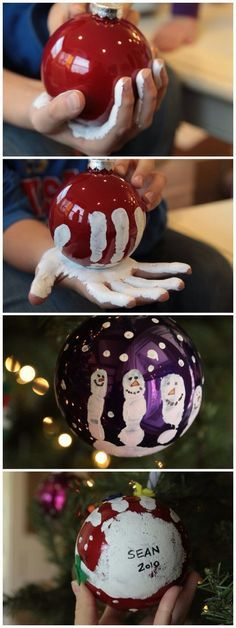 Crea le tue palline per l'albero di Natale decorandole con le dita