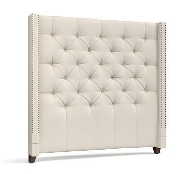 Harper Upholstered Tufted Tall Bed & Headboard #potterybarn
