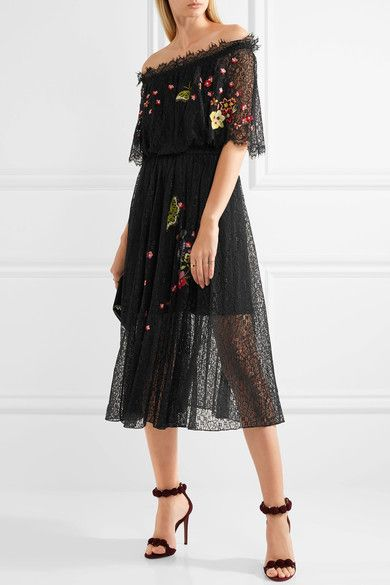 TEMPERLEY LONDON Leo off-the-shoulder embroidered lace midi dress $1,450 TEMPERLEY LONDON Leo off-the-shoulder embroidered lace midi dress $1,450 Temperley London's 'Leo' midi dress is embroidered with pink, orange and purple flowers and butterflies inspired by an English country garden. Cut from delicate lace, this piece has an elegant off-the-shoulder silhouette - we love how the scalloped eyelash trims frame your shoulders. It's partially lined to offset the sheerness.   Shown here with…