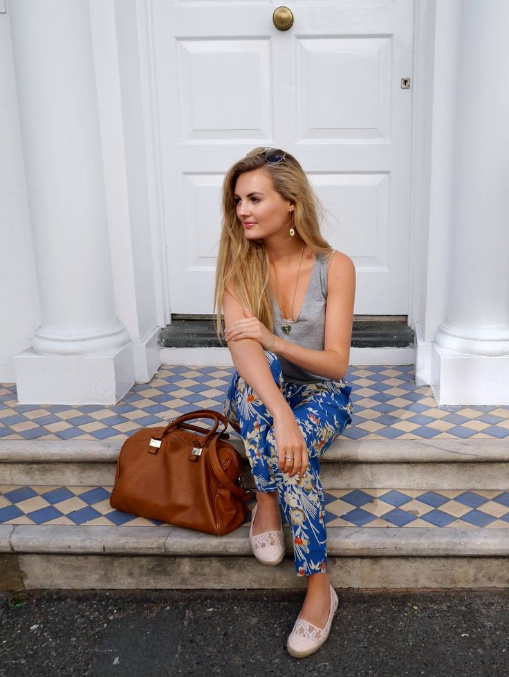 Blue Printed Trousers - Lady Smart