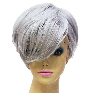 Capless High Quality Synthetic Janpanese Kanekalon Short Straight Grey Hair Wig