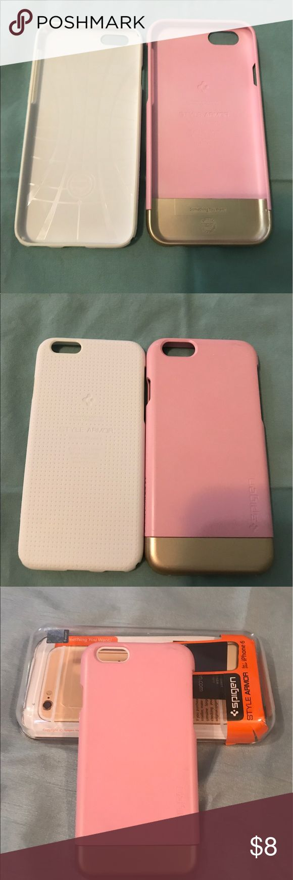 🌸Spigen IPhone 6 phone cover🌸 Spigen  IPhone 6 phone cover. Style is Armor. Case has TPU layer that protects the phone from scratches. Outer case is polycarbonate. Has removable bottom to slide phone in and out. Gently used. Has some scratches on outer case but still has a lot of use in it. Color is Sherbert Pink. Spigen Accessories Phone Cases