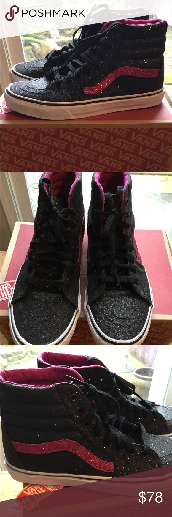 VANS sparkly black & Pink NWOT 9 1/2 I'm selling a pair of cool black sparkle w/dark pink strip Vans , I purchased them 1/2 size too big so I'm trying to get some of my money back.. these are awesome I was so excited I got the wrong size lol! You'll love these if you love the look and comfort of vans sneakers Vans Shoes Sneakers