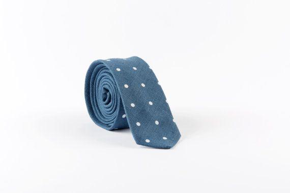 Polka dot blue skinny tie, Polka dot tie, Wedding tie, Grooms necktie, Skinny necktie, Standard necktie, Bow tie, Pocket square, Linen tie