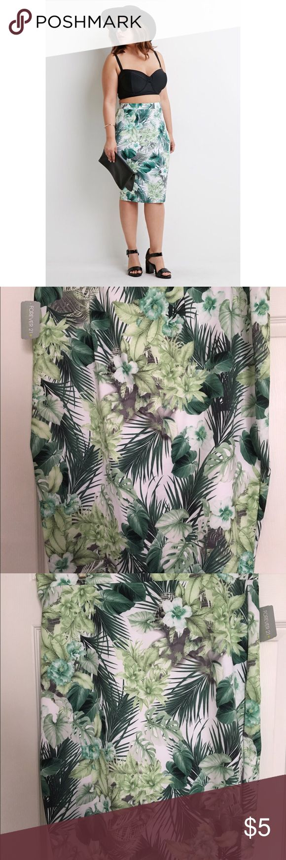 Forever 21 plus tropical mid length skirt Forever 21 plus tropical mid length skirt Forever 21 Skirts Midi