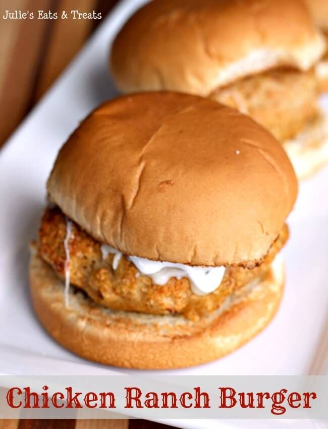 Chicken Ranch Burgers ~ Delicious, Juicy Chicken Burgers Flavored with Ranch! Perfect, Quick Weeknight Meal! ~ http://www.julieseatsandtreats.com
