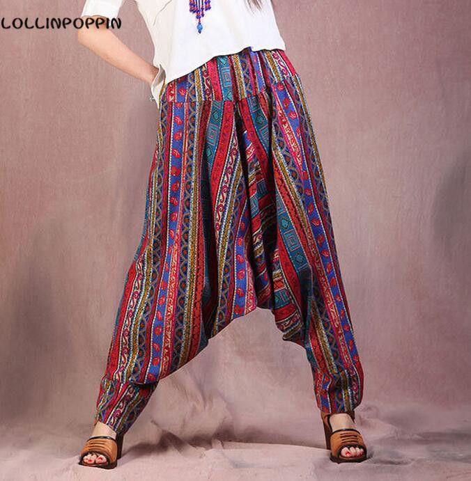 Women Low Crotch Bohemian Pants Ethnic National Style #harempants #bohemianpants #bohopants