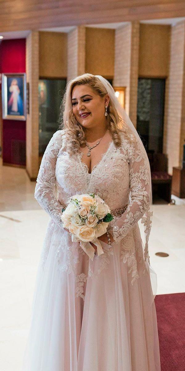 Plus Size Wedding Dresses A Line Lace V Neckline Long Sleeve Boho Coco Melody Offi Plus Size Wedding Guest Dresses Wedding Dresses Plus Size Wedding Dresses Uk