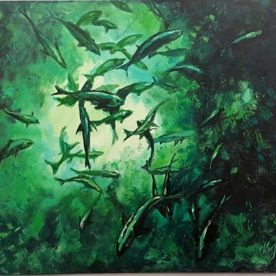 Olga Zottowski  Acrylic on canvas  Fish 99x90cm