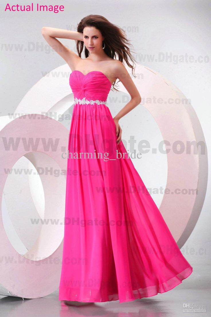 Wholesale 2013 Beach Hot Pink Bridesmaid Dresses Sweetheart Chiffon Lace Crystal Party Dresses Floor Length Prom Graduation Dresses, Free shipping, $121.59/Piece | DHgate