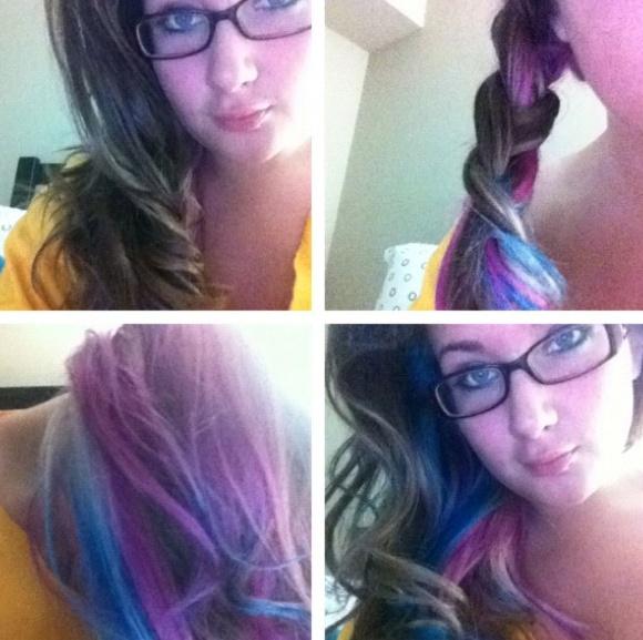 #SPLAT! Hair color: Aqua Rush #LustLavender  Braid  underneath view  Natural wave  ombre