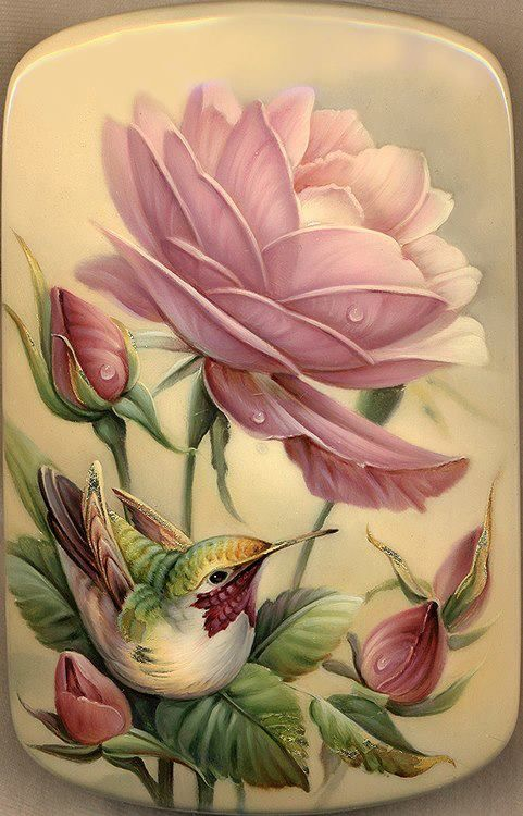 rosa, pássaro
