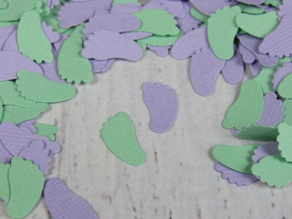 1000 Lavender and Mint Baby Feet Confetti - Purple and Green Baby Shower Decor - Soft Purple and Mint Confetti Feet
