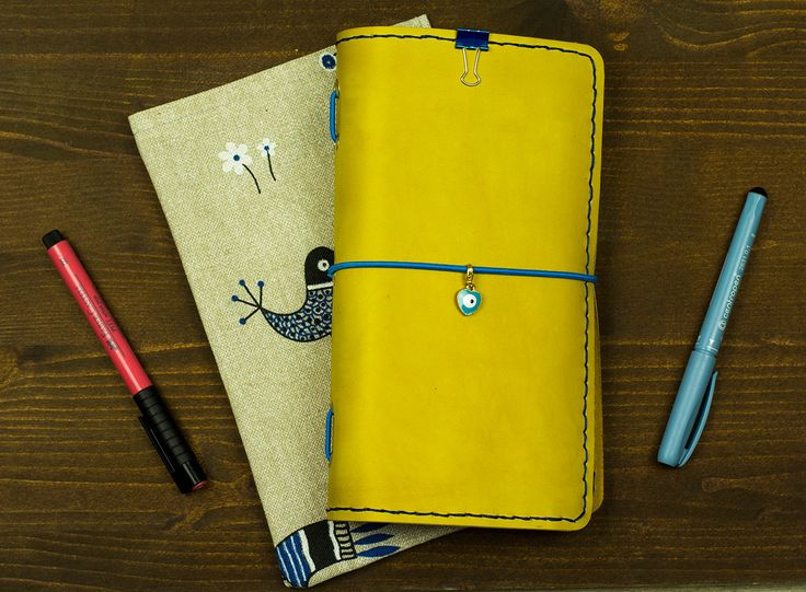 Get this original very cute leather notebook. Mild yellow pure leather plus fabulous Minions with funny quotes design. 192 pages in 3 internal notebooks/refills included. Minions for every day. Banana language primer and calendar are included.  There are 31 fully hand drawn illustrations and quotes, everything is unique. We put a lot of efforts into designing this cute thematic Minions notebook. Two weeks of revisions and drawing.