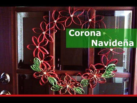 Corona de navidad reciclando tubos de cartón - YouTube