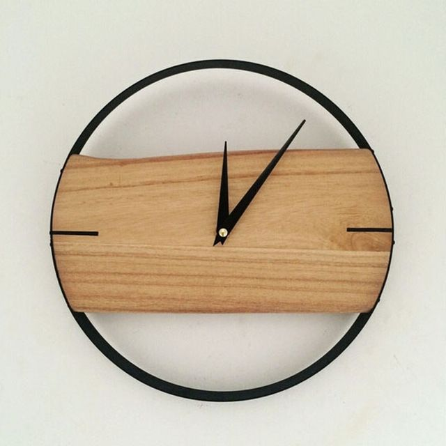 Naturel horloge murale br ve horloge murale en bois de for Plaque decorative murale