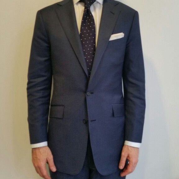 Loro Piana Super 150s Blue suit, Notch lapel, slanted pockets, white dress  shirt