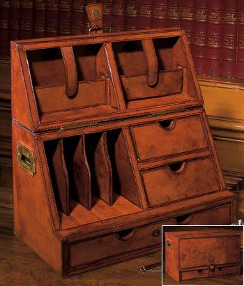 British Campaign-Style Furniture | Campaign Desk Organizer In Tan Leather