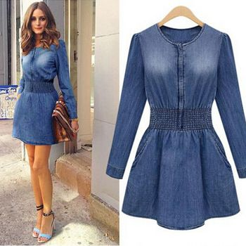 las mujeres europeas 2014 nuevo largo- de mezclilla manga uno- pieza moda vestido señoras delgado vaqueros camisas blusas hhy8337lsp envío gratis