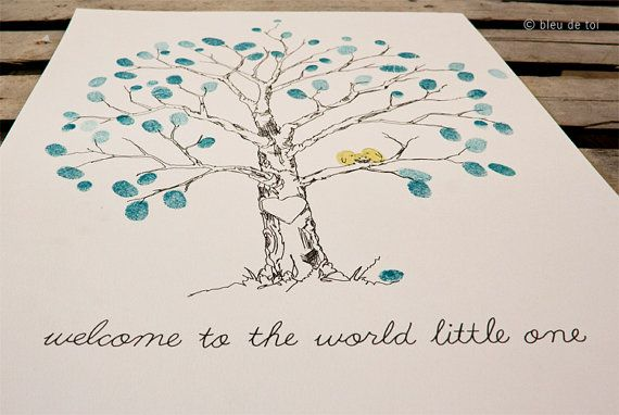 Small Baby Guestbook Fingerprint Elm tree for 3065 by bleudetoi