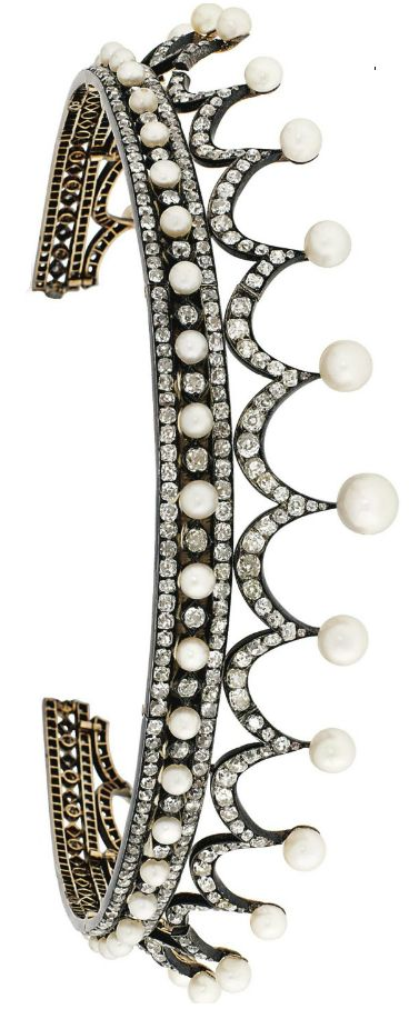 Late 19th Century Natural Pear And Diamond Tiara - Composed of a continuous series of cushion shaped old-cut diamond graduated swags, each with a single natural pearl surmount, raised on a similarly-set natural pearl and diamond triple line band, mounted in silver and gold, circa 1890