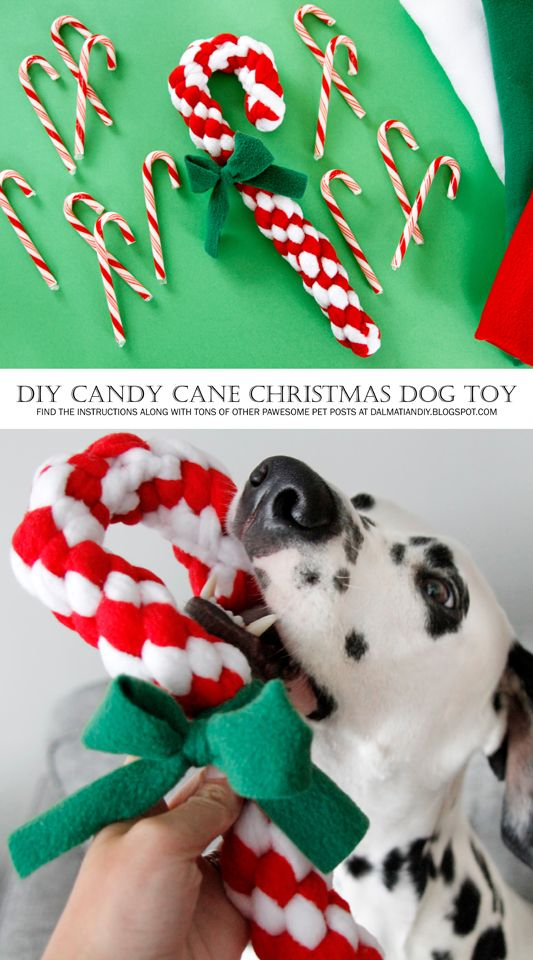 DIY Woven Fleece Christmas Candy Cane Dog Tug Toy - Tap the pin for the most adorable pawtastic fur baby apparel! You'll love the dog clothes and cat clothes! <3