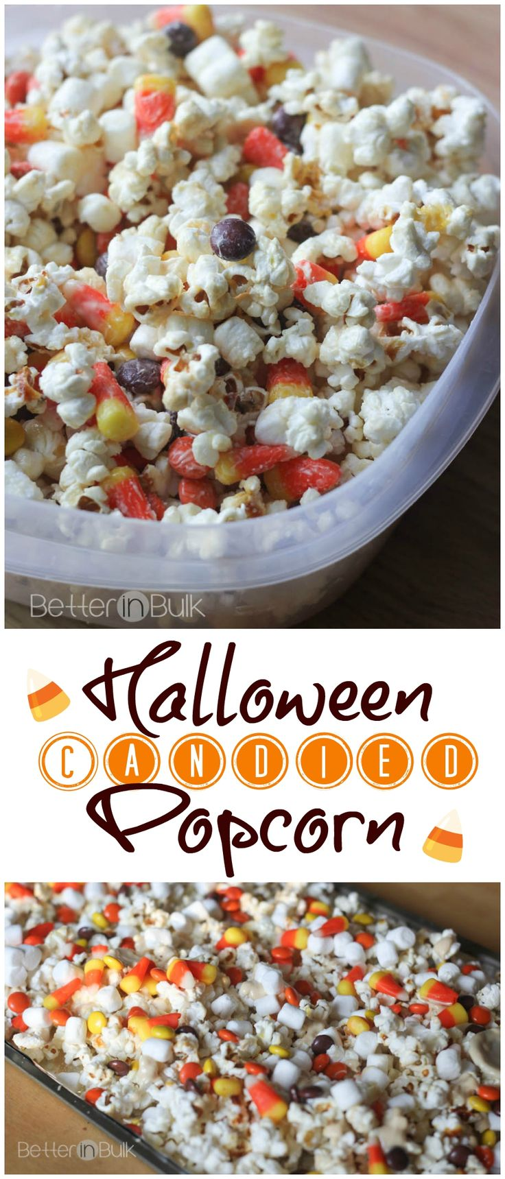 Halloween Candied Popcorn - this is a crowd-pleaser! Perfect for Halloween parties or just an afternoon snack in the fall. Yum!