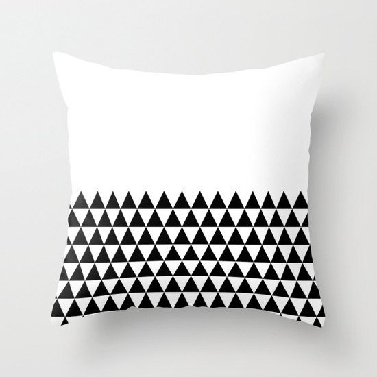 Black And White Geometric Throw Pillows : 36 colours, Geometric Triangles Half Print Pattern Decorative Pillow Cover, Black and white ...
