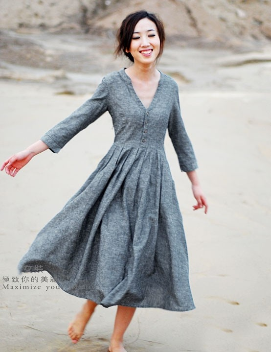 Gray dress, how cute you are.