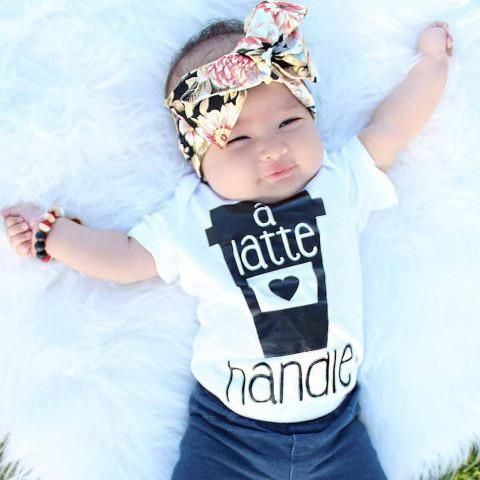 « A LATTE HANDLE » BODYSUIT - The Pine Torch. Graphic baby onesie, funny baby onesie, unisex baby one piece, baby girl fashion, hipster baby.