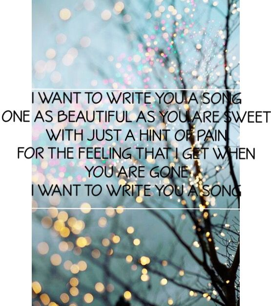 One Direction - I Want To Write You A Song Lyrics