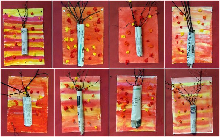Oranssin värin sekoittaminen,,,,, märällä märälle - syksyinen puu sekatekniikalla.