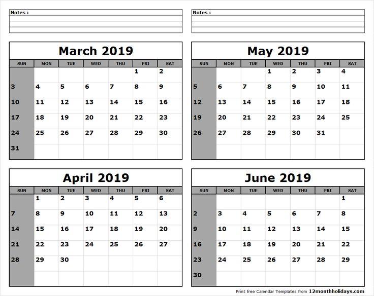 March April May June 2019 Calendar to Print #april #may # ...