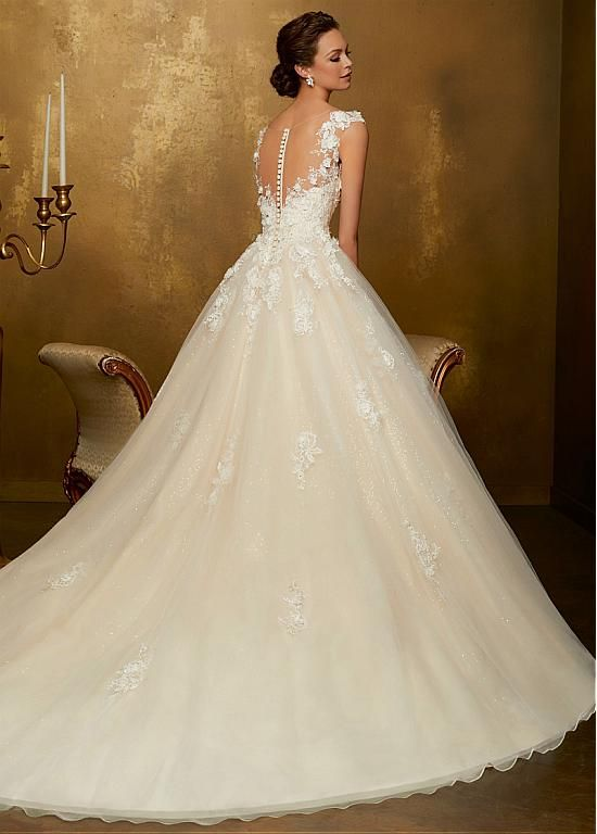 Buy discount Stunning Tulle & Sequin Tulle Scoop Neckline A-line Wedding Dress With Lace Appliques & 3D Flowers & Beadings at Ailsabridal.co