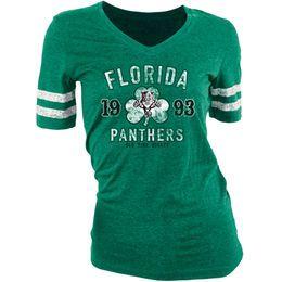 Old Time Hockey Florida Panthers Women's St. Patrick's Day Slaney V-Neck T-Shirt - Green