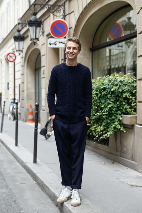 Street Style of Paris: César Jamey wearing head-to-toe AMI Alexandre Mattiussi. | Fashionsnap.com