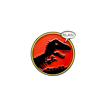"""An adventurous pin with a jurassic feel and bold colors that really wake  you up.  1"""" x 1"""" SoftEnamel /Black Metal pin withFoil Stamped CollectorCard"""