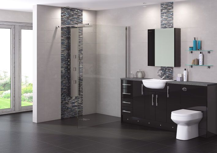 Create a dynamic look in your bathroom with the stunning black gloss fascia contrasted with white pottery. Choose from our lighting options including plinth lighting for that unique ambiance.