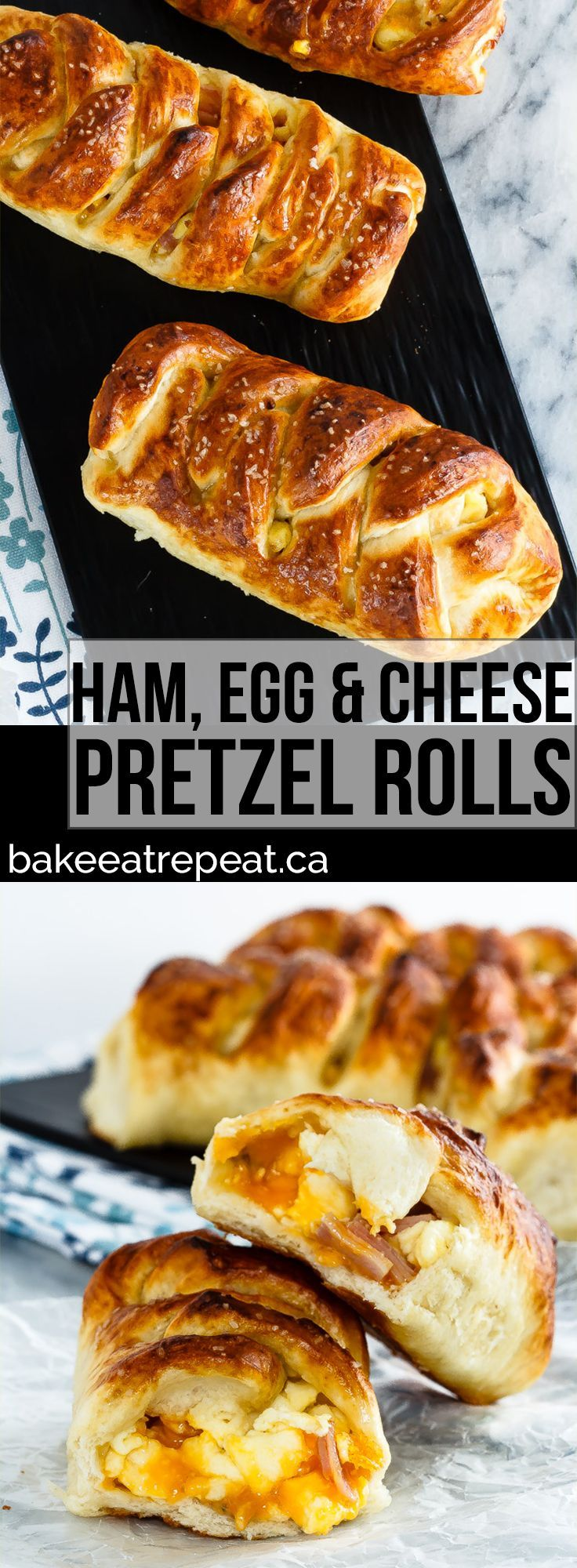 These braided ham, egg and cheese pretzel rolls are the perfect hand held meal. Plus they're easy to take along with you for breakfast or lunch on the go!