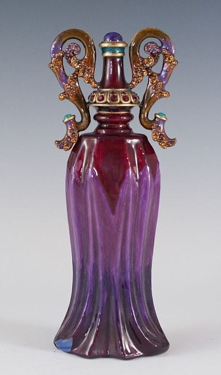 "Vintage Purple Jay Strongwater Perfume Scent Bottle, circa late 20th C. 6-3/4"" tall."