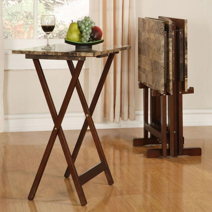 4 TV Trays Set With Stand Table Wood Folding Living Room Brown Faux Marble  New