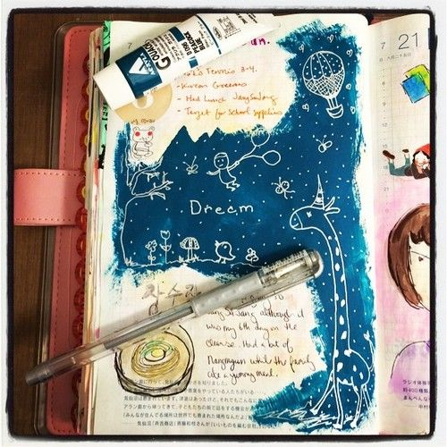 art journal page by @jslkim on instagram; silver gel pen on dark blue paint... This also reminds me of water colors over white crayon art.
