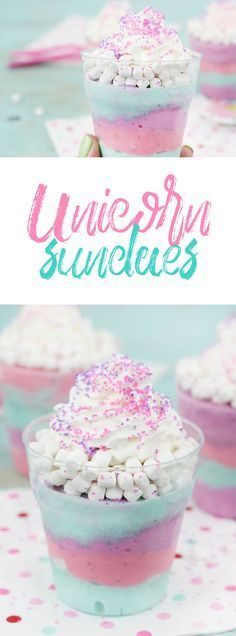 Unicorn Sundaes that are actually low cal. SO easy to make. Perfect for unicorn theme parties. Unicorn Foods, Unicorn Ice Cream. via /dawnchats/