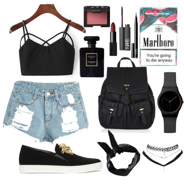 by raczreka on Polyvore featuring polyvore fashion style Versace Accessorize Wet Seal Boohoo NARS Cosmetics Chanel