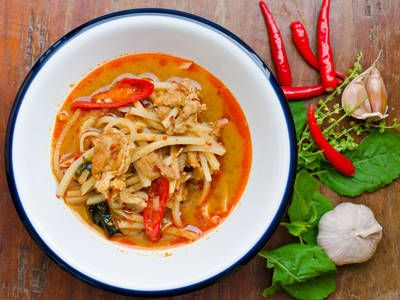 Work a little Asian fusion into your dinner rotation with this spicy Thai chicken recipe. Serve it on a bed of rice or with noodles to thicken it up and transform it into a full meal on weeknights. Omit the peanuts for anyone with an allergy or load them up for a nice nutty texture.